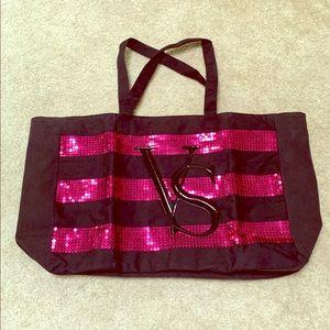 Victoria's Secret Tote Bag Sequin Vs black pink